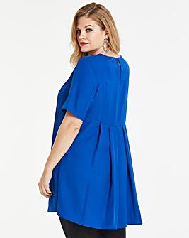 Cobalt Pleat Back Short Sleeve Blouse