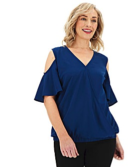 Navy Cold Shoulder Wrap Top