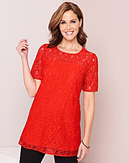 Bright Red Lace Front Jersey Back Blouse