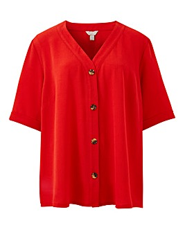 Red Button Front Blouse