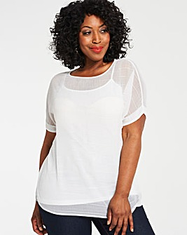 Ivory Textured Boxy Top