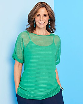 Green Textured Boxy Top