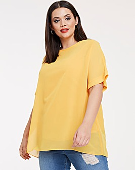Ochre Round Neck Top with Jersey Lining