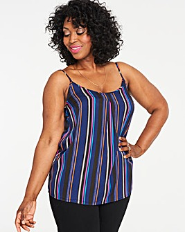 Navy Stripe Printed Strappy Cami