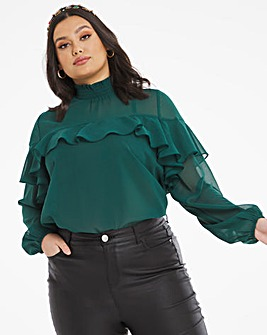 Emerald Green Ruffle Front Blouse