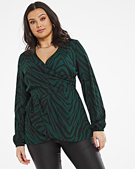 Bliss Wrap Front Zebra Blouse