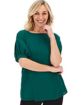 Green Puff Sleeve Woven Top