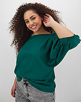 Green Puff Sleeve Woven T-Shirt