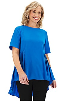 Blue Pleated Detail Woven Top