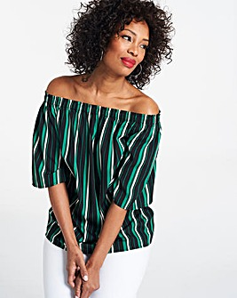 Green Stripe 3/4 Sleeve Bardot Top