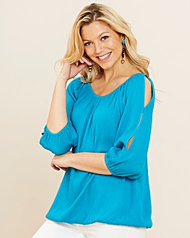 Turquoise Crinkle Split Sleeve Top