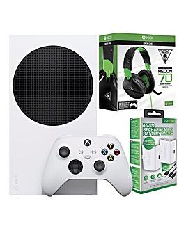 Xbox Series S + Twin Battery Packs + Turtle Beach 70X Headset