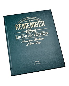 Remember When Birthday Edition Hard Back Book