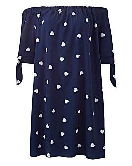 Quiz Bardot Heart Print Dress