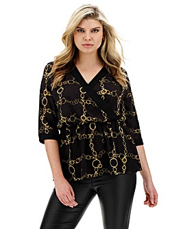 Quiz Chain Print Wrap Top