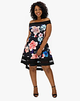 Quiz Bardot Floral Skater Dress