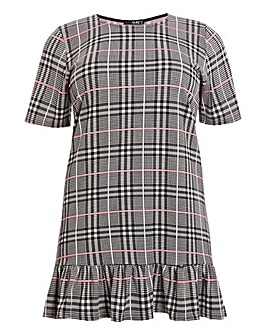 Quiz Check Ruffle Tunic Shift Dress