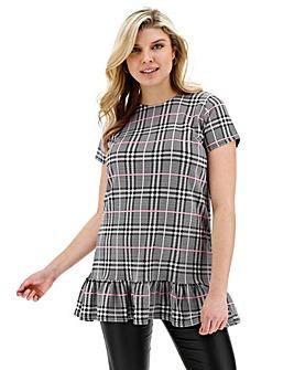 Quiz Check Ruffle Tunic Shift Dress