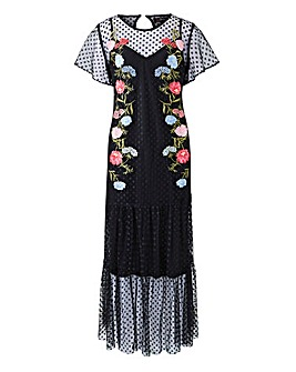 Lovedrobe Emroidered Mesh Maxi Dress