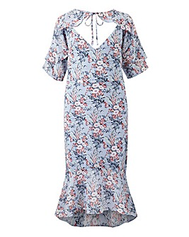 Lovedrobe Print Tie Neck Midi Dress