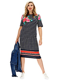 Oasis Curve Amya Stripe and Floral Dress