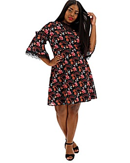 Lovedrobe Paisley Print Lace Trim Dress