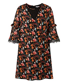 Lovedrobe Paisley Print Lace Sleeve Swing Dress