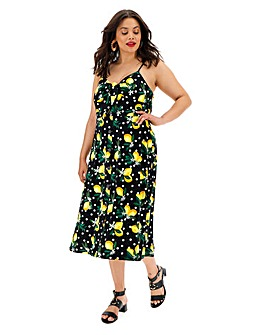 Oasis Curve Lemon Print Dress
