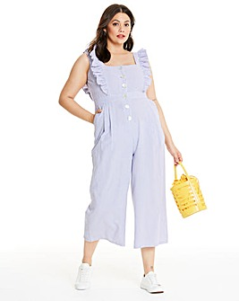 Neon Rose Gingham Check Ruffle Culotte Jumpsuit