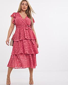 Little Mistress Burnout Frill Midi Dress