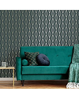 Emerald Marquise Geometric Wallpaper
