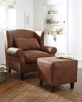 Faux Leather Wing Armchair