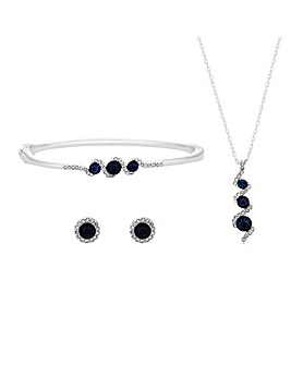 Jon Richard Sapphire Twist Drop Set