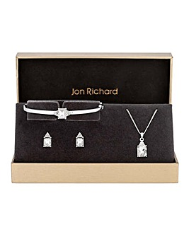 Jon Richard Crystal Square Drop Trio Set