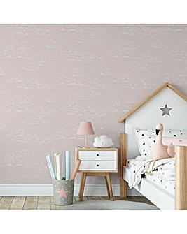 Pink Vintage Clouds W/Paper