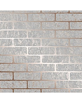 Superfresco Grey/Rose Gold Milan Metallic Brick Wallpaper