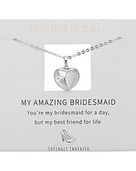 My Amazing Bridesmaid Heart Pendant