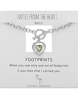 Footprints Heart T Bar Bracelet
