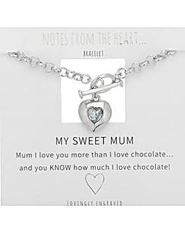 My Sweet Mum Heart T Bar Bracelet
