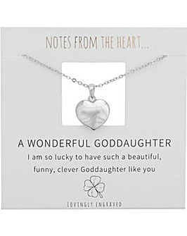 A Wonderful Goddaughter Heart Pendant