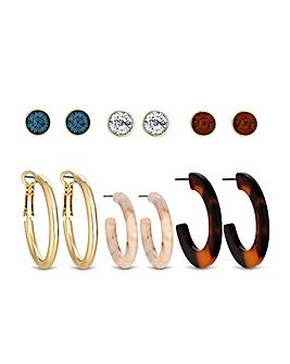 MOOD Resin Multicolour Earring Pack Of 6
