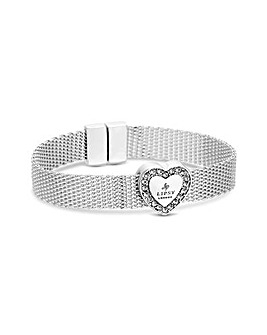 Lipsy Silver Plated Heart Mesh Bracelet