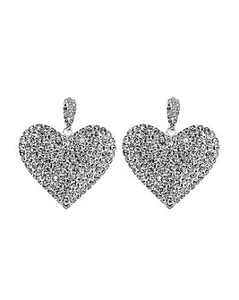 MOOD Silver Plated Crystal Heart Earring