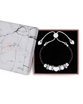 Lipsy Silver Plated Black Strap Bracelet