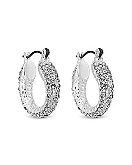 MOOD Silver Plated Pave Crystal Earrings