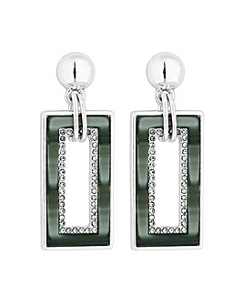 MOOD Silver Plated Rectangle Earrings