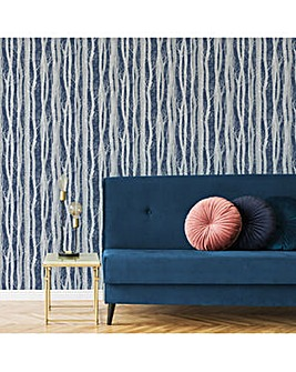 Sublime Navy Dappled Tree Forest Wallpaper