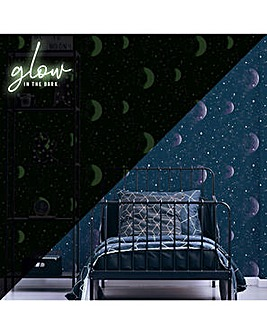 Superfresco Planetarium Blue Glow in the Dark Wallpaper