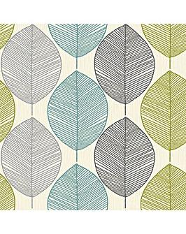 Retro Leaf Teal/Grn Wallpaper