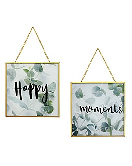 Happy Moments Glass Print Set of 2